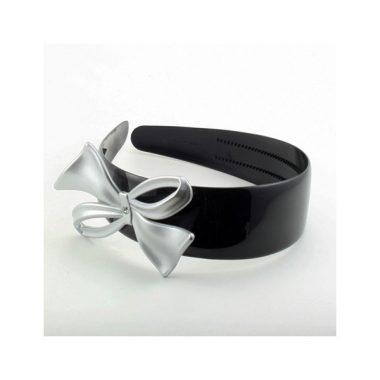 bandeau-serre-tete-noeud-papillon-argent-verni-noir-accessoire-cheveux-luxe